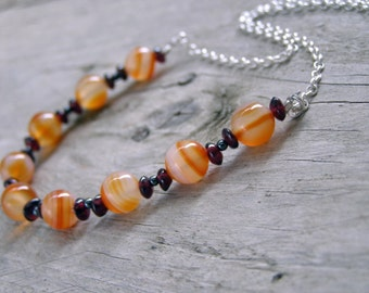 Carnelian and garnet necklace gemstone necklace - Orange fruity summer casual necklace - Elegant necklace