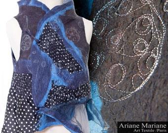 Gorgeous fiber art merino Wool Vest, Embroidered Nuno Felt Women Vest, Silk Wool Wearable Art Garments, one of Reversible Design Paris
