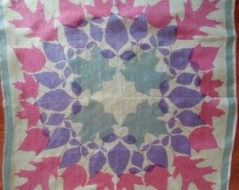 Vera Neumann Silk Scarf Vintage 1950's Square Leaves