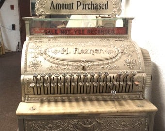 Victorian Cash Register, 1890's Cash Register, M. Rozner Cash Register, pick up only