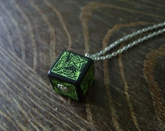 call of Cthulhu necklace D6 dice necklace dungeons and dragons dice jewelry elder sign geek pendant lovecraft pathfinder dice cthulhu