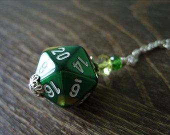 D20 dice green yellow gold D20 dice pendant dungeons and dragons pendant dice pendant D20 pendant dice jewelry geek pathfinder D20 dice