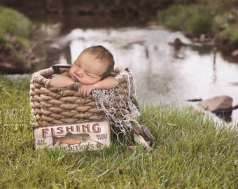 Instant Download Photography Prop Little Fishing Fisherman DIGITAL BACKDROP for Photographers