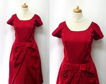 1950s Vintage Silk Dress / Scarlet Red Tulip Skirt Dress
