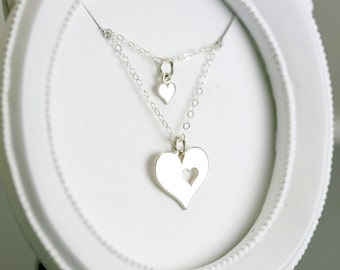 Mother Daughter Necklace - Sterling Silver Heart Necklace - Mothers Day Gift Jewelry - Mom Gift Under 50