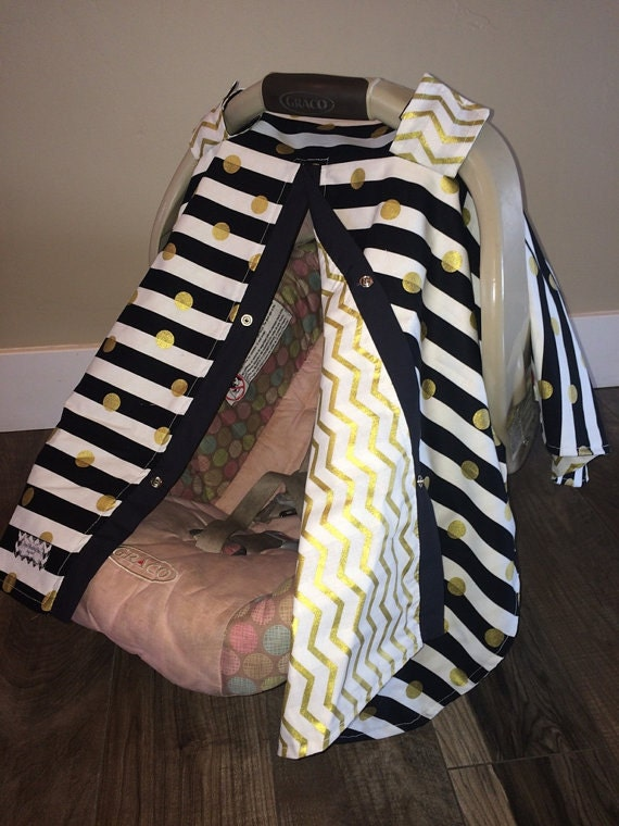 Car seat canopy / Nusring Cover / Black and Gold / car seat cover / nursing cover / carseat canopy / carseat cover