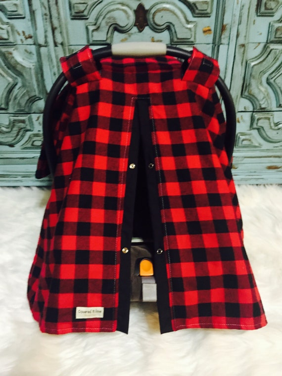 Car Seat Canopy Red And Black Buffalo Plaid Car Seat Cover
