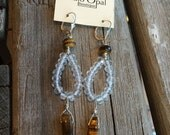 Tiger Eye and Quartz Earrings