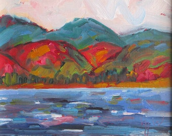 "LANDSCAPE I. oil on canvasboard, original painting. Mountains. Lake. Yvonne Wagner. Montagne. Framed. 8"" x 8"" (20 x 20 cm)"