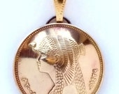 Egyptian Coin Pendant Pharaoh Queen Cleopatra Gold Ancient Egypt Jewelry Necklace Royal Unique Charm Finding Bead World