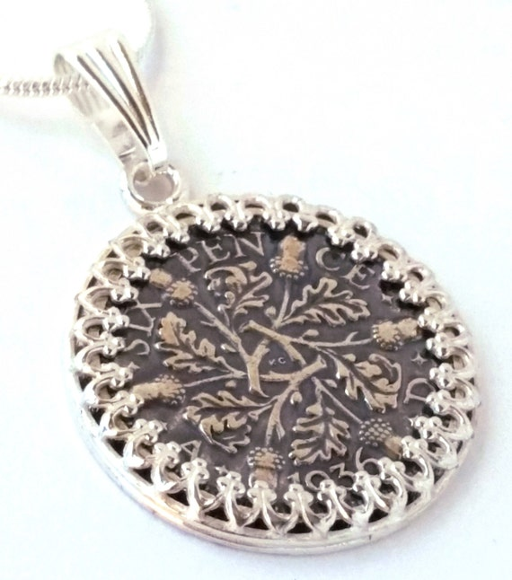 Beautiful Acorn and Oak Leaf Silver Sixpence Coin Pendant Wedding Sixpence England Lucky Sixpence Bridal Shower Jewelry Bride Acorn Oak