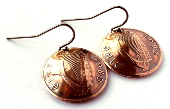 Ireland Coin Earrings Irish Harp Copper Colored Jewelry Celtic Woman Birthday Gift for Her Christmas Gift for Her