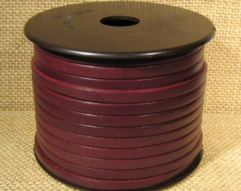 5mm Flat Leather - Burgundy - 5F-32 - Choose Your Length
