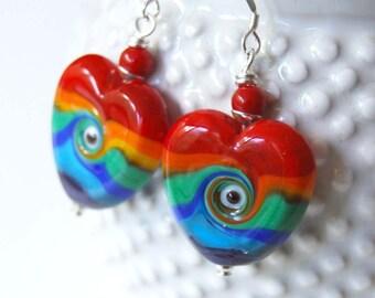 Heart Earrings, Rainbow Earrings, Colorful Earrings, Lampwork Bead Earrings, Swirling Earrings, Red Earrings, Happy Jewelry