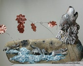 Whimsical Winter Warlocks Wolf Wolves mixed media handsculpted handpainted rock copper wire Kamansa artwork sculpture