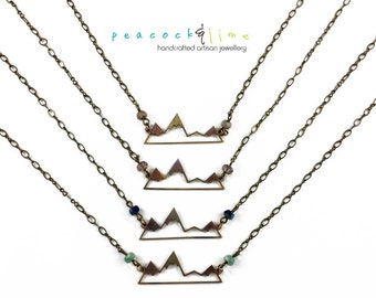 Mountain Peaks necklace // colorful mountain top dainty metal necklace // limited edition // one of a kind // adventure