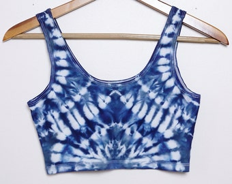 Psychedelic Shibori-Dyed Sport Crop Top - Size Medium - M