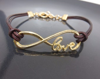 Love Bracelet in Dark Reddish Brown Leather with Gold Spiral Charm