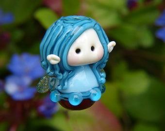 Little Blue haired Jewel Fairy Glass Bead