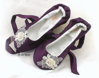 Ballet Flats, Purple, Plum, Ivory, Purple Flats, Wedding Flats, Elegant Shoes, Ballet Slippers, Ballerina Flats, Lace Up, Flower Girl,Pearls