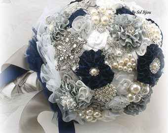 Brooch Bouquet, Navy Blue, White, Grey, Silver, Elegant Wedding, Vintage Wedding, Wedding Bouquet, Lace Bouquet, Crystals, Pearls, Gatsby