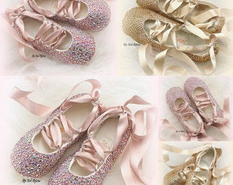 Crystal Flats, Blush, Rose, Pink, Champagne,Gold,Wedding Flats,Ballet Flats, Elegant Wedding, Lace Up, Shoes, Ballerina Slippers, Cinderella