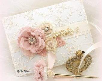 Guest Book, Dusty Rose, Rose, Tan, Gold, Champagne, Ivory, Lace Guest Book, Vintage Wedding, Bridal Shower, Gift, Signature Book, Pen