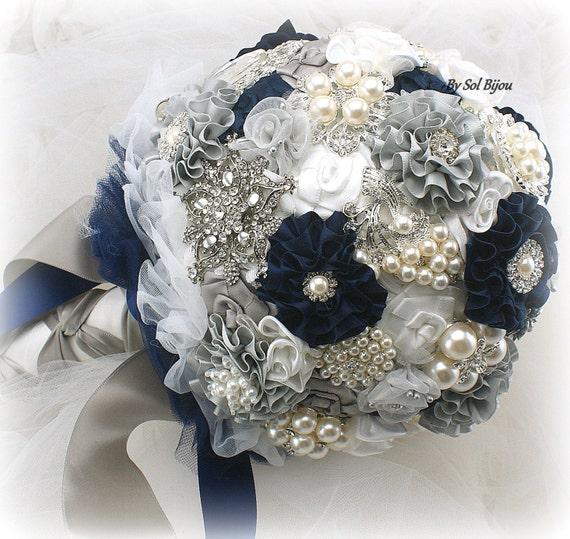 Brooch Bouquet Navy Blue White Grey Silver Elegant