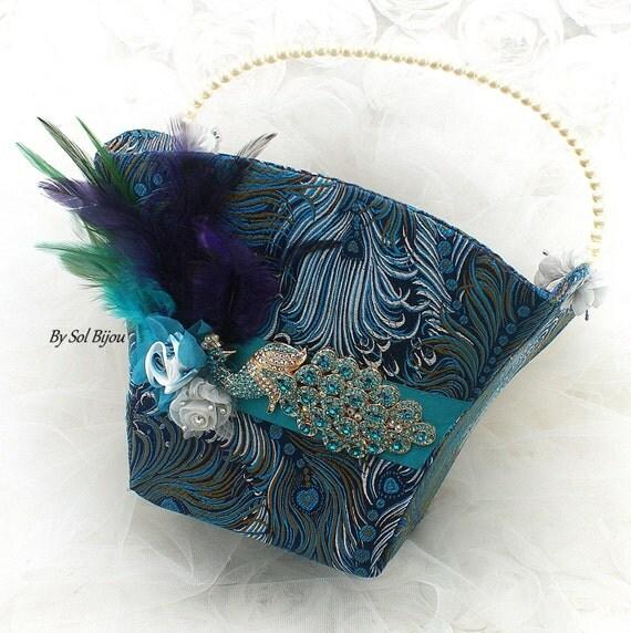 Flower Girl Baskets Peacock : Flower girl basket peacock wedding feathers navy