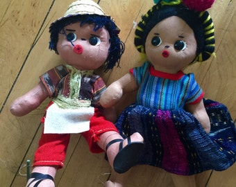 Vintage Folk Art Doll Duo
