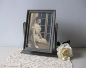 Antique wood picture frame Edwardian era swinging picture frame