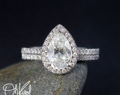 VALENTINES DAY SALE Forever Brilliant White Gold Pear Moissanite Halo Diamond Engagement Ring – Wedding Set– Half Eternity Micro Pave Diamon