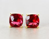 40 OFF SALE Red Ruby Quartz Studs - Cushion - Gold Plated