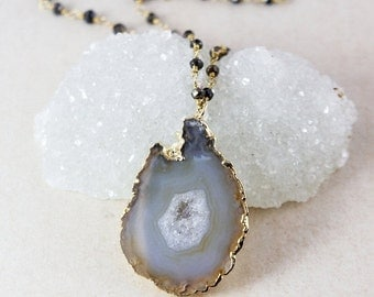 ON SALE Gold Natural Druzy Crystal Necklace - on Black Pyrite Chain - Soft Grey