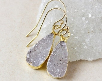 ON SALE Purple Teardrop Druzy Earrings - Choose Your Druzy - 14K Gold Fill