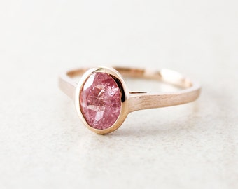 Rose Gold Blush Pink Tourmaline Ring - Oval Engagement Ring - Romantic Jewelry