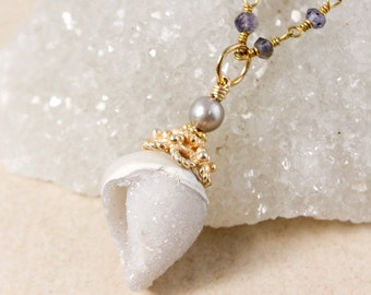 Grey Pearl & Fossilized Druzy Seashell Necklace - Blue Iolite Chain - Layering Necklace