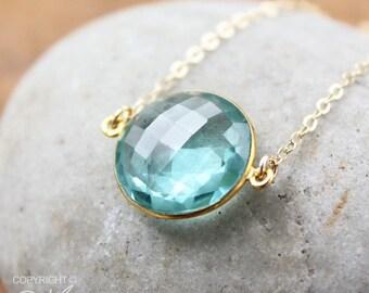 CLEARANCE SALE Gold Light Teal Quartz Bezel Necklace - Gemstone Necklace - 14KT Gold Fill