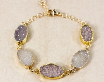 Multi-Stone Natural Agate Druzy Bracelet – Boho Jewelry