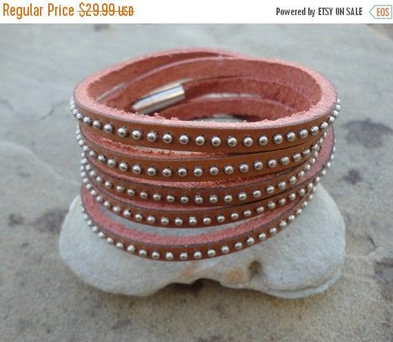 30% OFF SALE Studded Natural Leather Wrap Bracelet