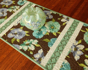 Floral Quilted Table Runner in Aqua Green Purple and Brown, Flower Table Runner, Dining Table Decor, Quilted Tablecloth, Table Topper