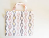 cotton tote bag - soft gray and cream stripe - original textile -