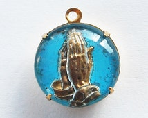 Vintage Antique Intaglio Glass Hands In Prayer Pendant Religious Jewelry 18mm Blue
