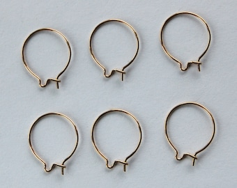 Gold Plated Ear Wires Earring Findings Wires Round Circle 3 pair 14mm