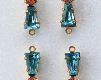 Vintage Glass Keystone Connector Beads 4 Light Sapphire & Swarovski Pink Rhinestone 5x12mm