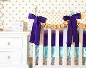 Bumperless Glitz Gold Dot and Purple Baby Bedding, Mint Crib Bedding, Purple Crib Bedding, Baby Bedding, Designer Bedding, Gold Dot
