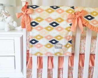 Coral Bumperless Bedding, Aztec Crib Bedding, Girl's Aztec Baby Bedding, Apricot Crib Bedding, Baby Girl Bedding, Aztec Crib Sets