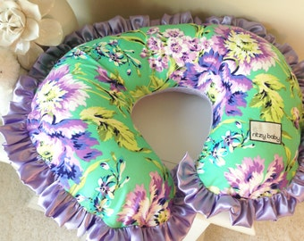 Love Bliss Bouquet Emerald and Lavender Nursing Pillow Cover, Nursing Pillow reverses to a Super Soft Minky