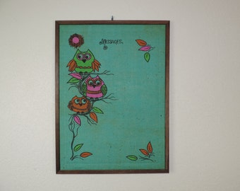 vintage owl cork board, 1960's boho bulletin board, hippie wall hanging, memo board, vintage owls