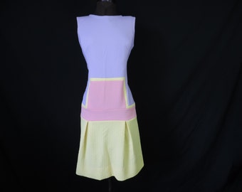 mod drop waist dress 60s sleeveless color block dress pleated skirt sporty dress large